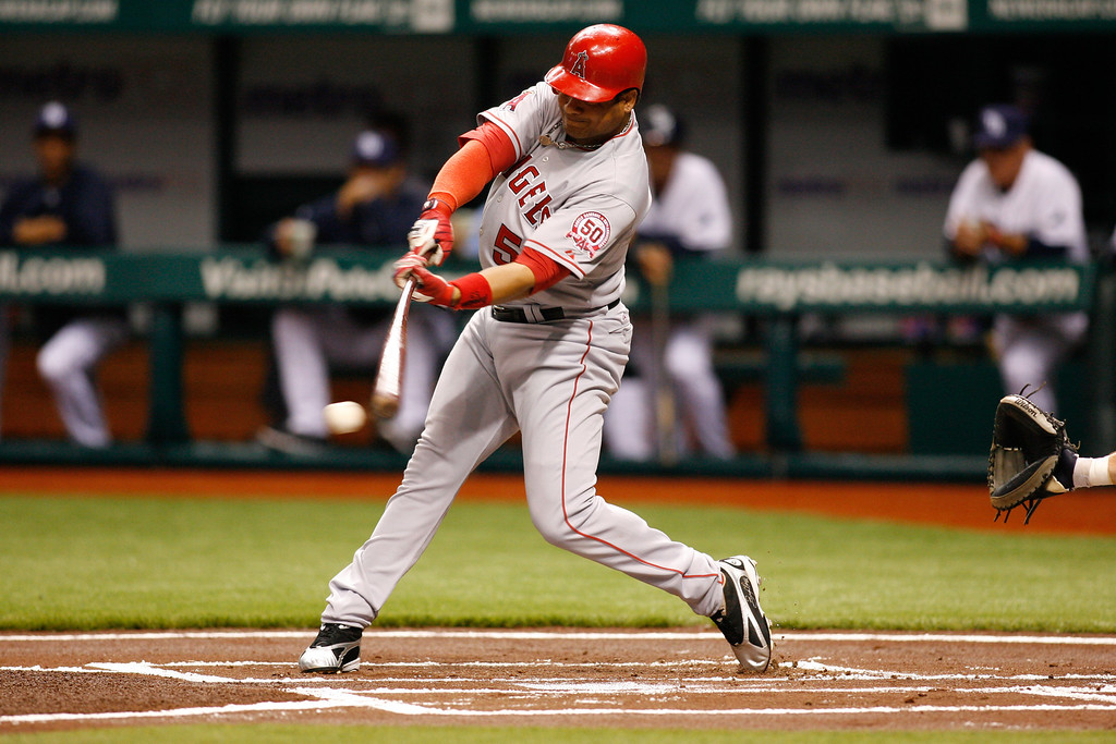 Los Angeles Angels right fielder Bobby Abreu (53) at bat during the game at Tropicana Field.