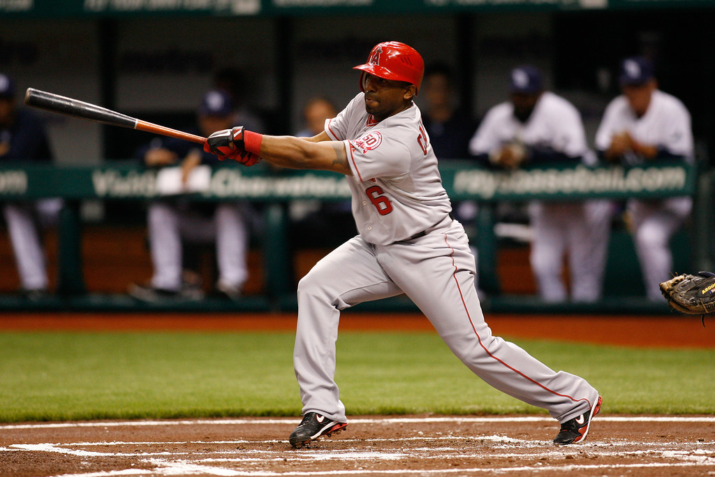 Los Angeles Angels third baseman Alberto Callaspo (6) at bat during the game at Tropicana Field.
