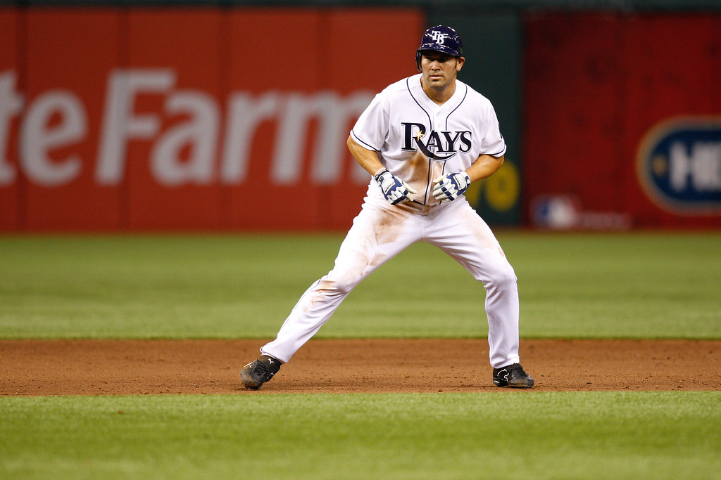 Tampa Bay Rays left fielder Johnny Damon (22) leads of during the game at Tropicana Field.