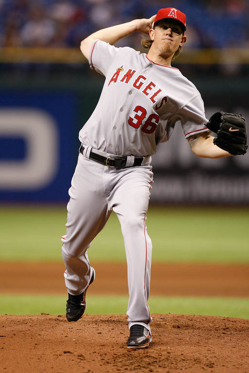 Los Angeles Angels starting pitcher Jered Weaver (36) winds up for a pitch during the game at Tropicana Field.