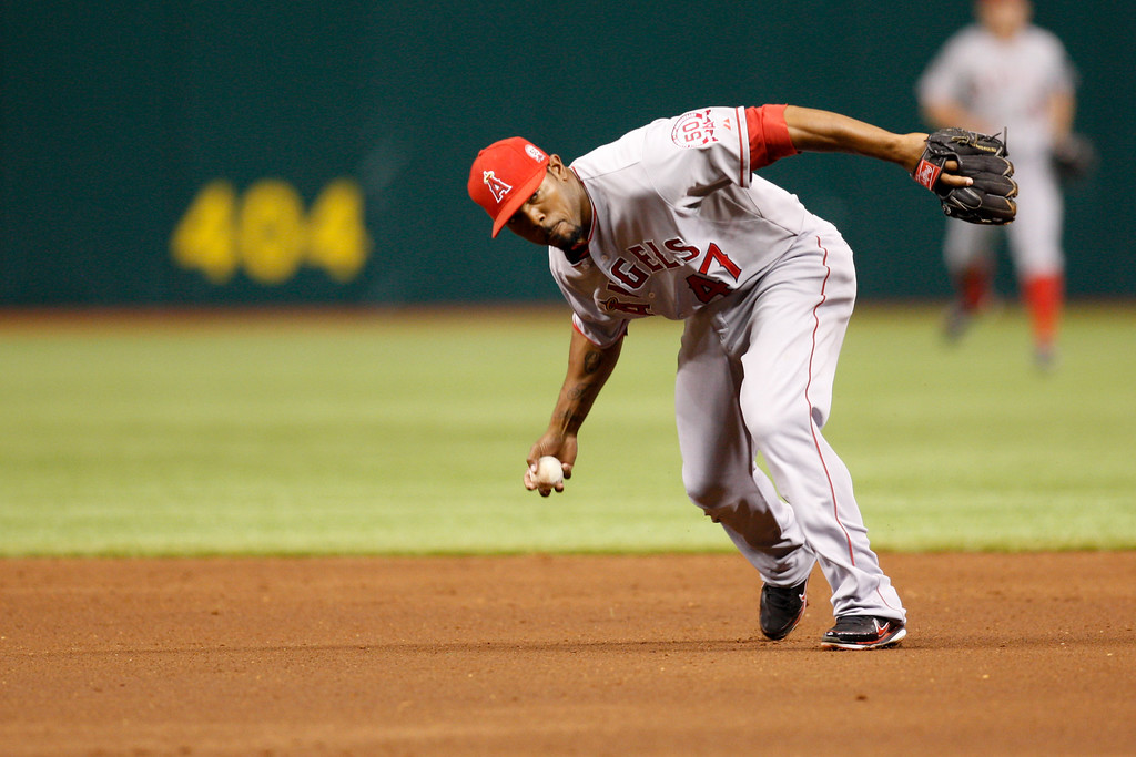 Los Angeles Angels second baseman Howard Kendrick (47) fields a ball during the game at Tropicana Field.