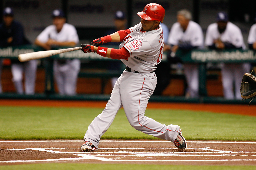 Los Angeles Angels third baseman Maicer Izturis (13) at bat during the game at Tropicana Field.