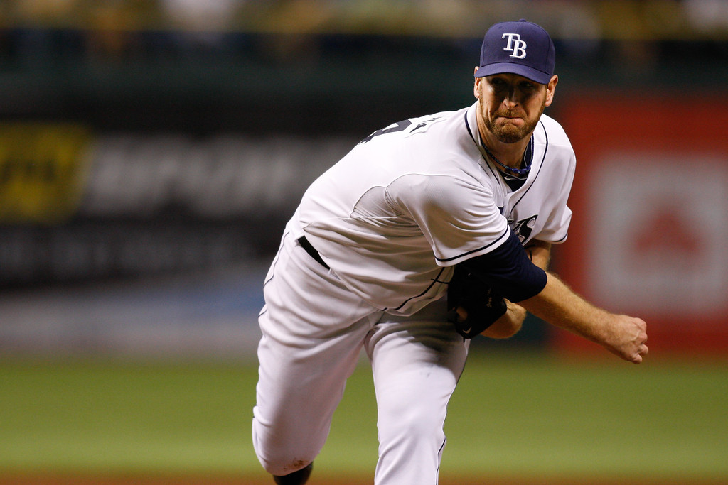 Tampa Bay Rays starting pitcher Jeff Niemann (34) throws a pitch during the game at Tropicana Field.