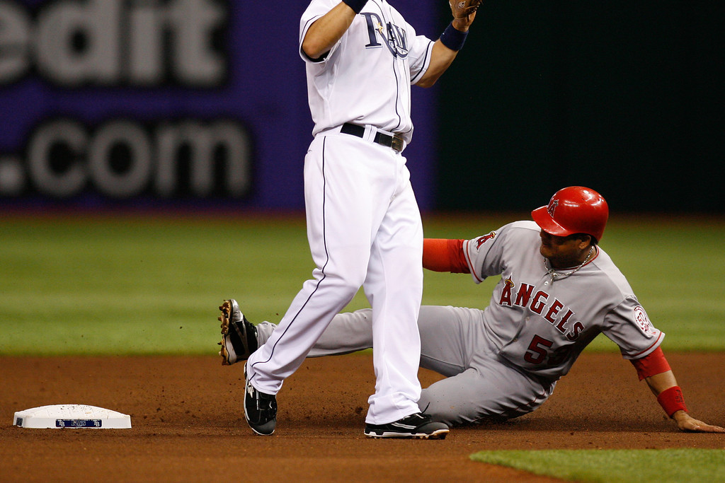 Los Angeles Angels right fielder Bobby Abreu (53) steals second base with ease during the game at Tropicana Field.