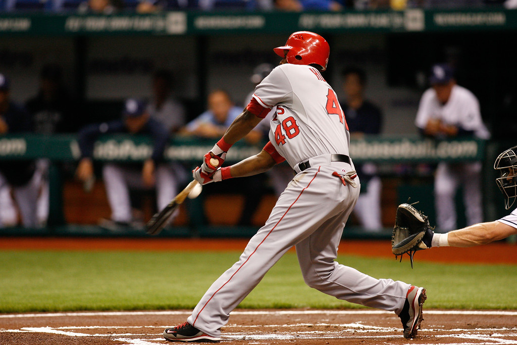 Los Angeles Angels right fielder Torii Hunter (48) at bat during the game at Tropicana Field.