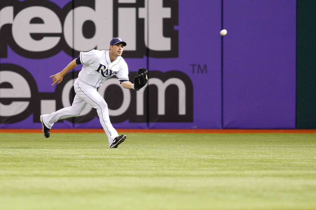 Tampa Bay Rays right fielder Matt Joyce (20) catches a line drive during the game at Tropicana Field.