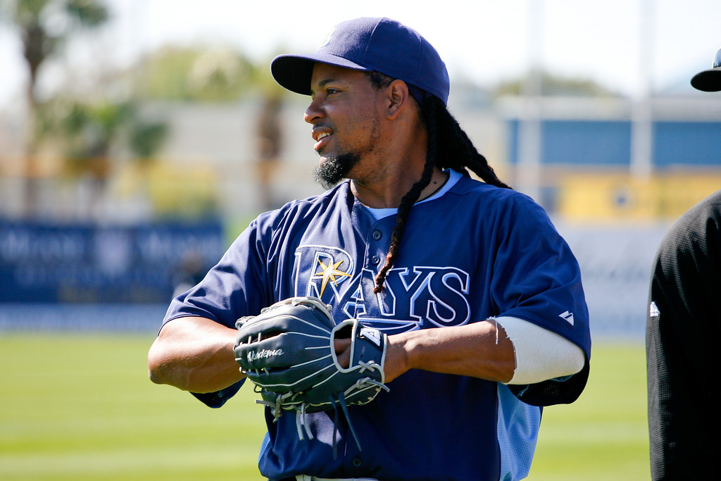 Tampa Bay Rays left fielder Manny Ramirez (24) prior to a Grapefruit League Spring Training Game at the Florida Auto Exchange Stadium.