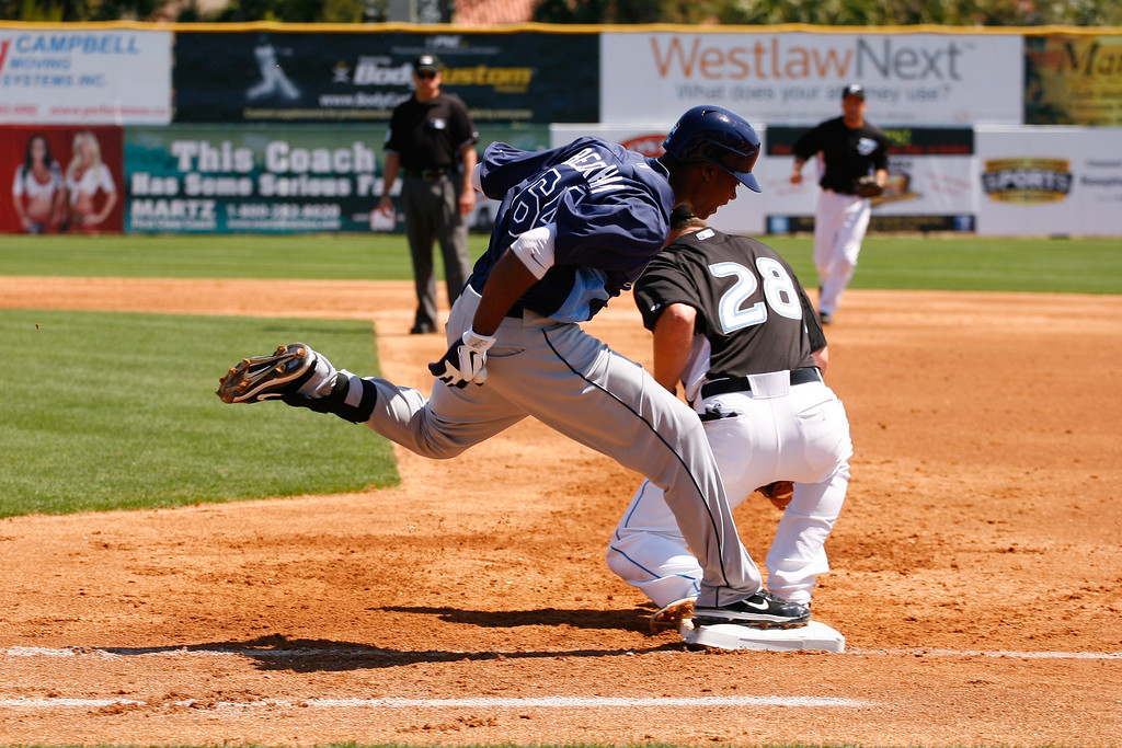 Tampa Bay Rays shortstop Tim Beckham (64) runs to first base during a Grapefruit League Spring Training Game at the Florida Auto Exchange Stadium.