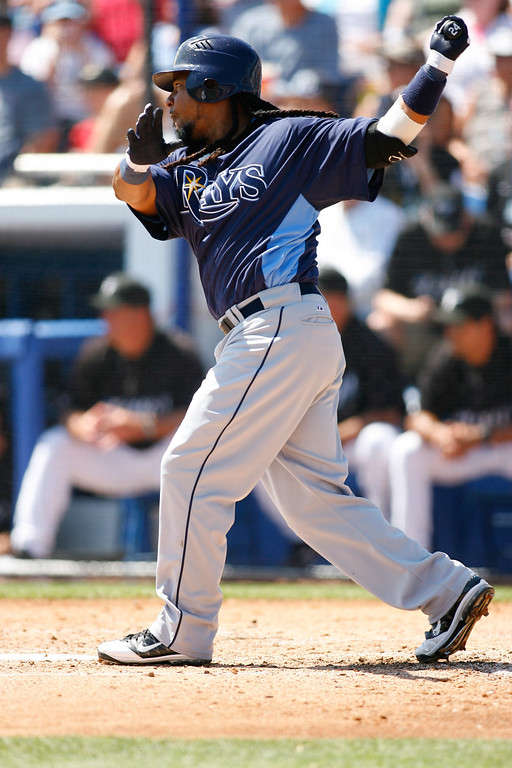 Tampa Bay Rays left fielder Manny Ramirez (24) at bat during a Grapefruit League Spring Training Game at the Florida Auto Exchange Stadium.