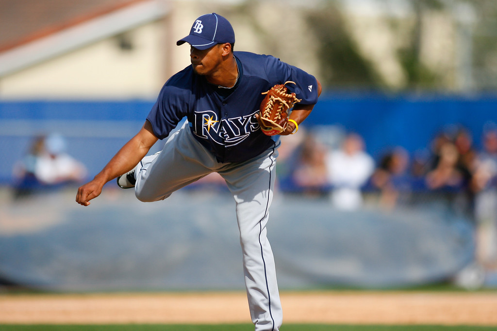 Tampa Bay Rays pitcher Richard De Los Santos (72) throws a pitch during a Grapefruit League Spring Training Game at the Florida Auto Exchange Stadium. The Toronto Blue Jays beat the Tampa Bay Rays 5-4.