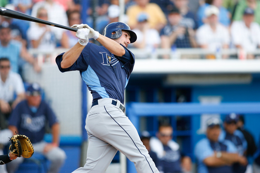 Tampa Bay Rays right fielder Matt Joyce (20) at bat during a Grapefruit League Spring Training Game at the Florida Auto Exchange Stadium.