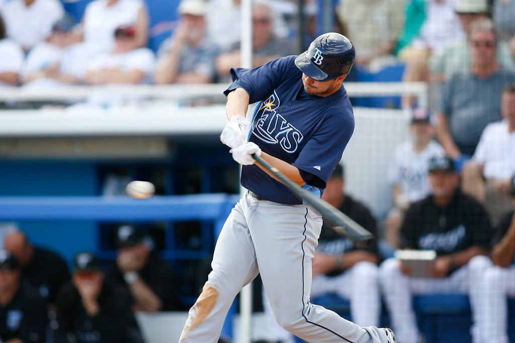 Tampa Bay Rays right fielder Matt Joyce (20) at bat during a Grapefruit League Spring Training Game at the Florida Auto Exchange Stadium. The Toronto Blue Jays beat Tampa Bay Rays 5-4.