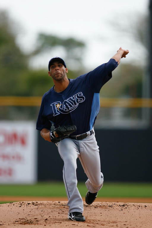 Tampa Bay Rays starting pitcher David Price (14) throws a pitch during a Grapefruit League Spring Training Game at the Florida Auto Exchange Stadium.