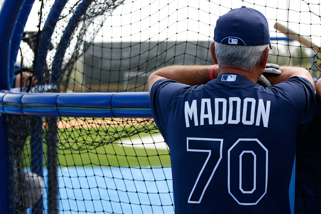 Tampa Bay Rays manager Joe Maddon (70) prior to a Grapefruit League Spring Training Game at the Florida Auto Exchange Stadium.