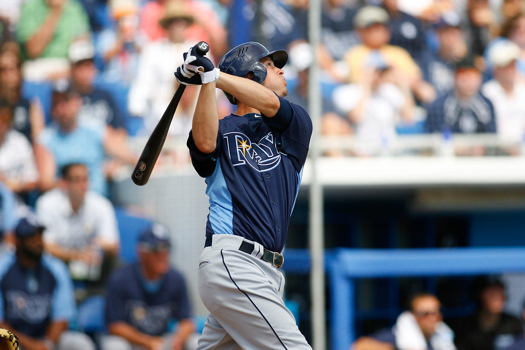 Tampa Bay Rays second baseman Reid Brignac (15) at bat during a Grapefruit League Spring Training Game at the Florida Auto Exchange Stadium.
