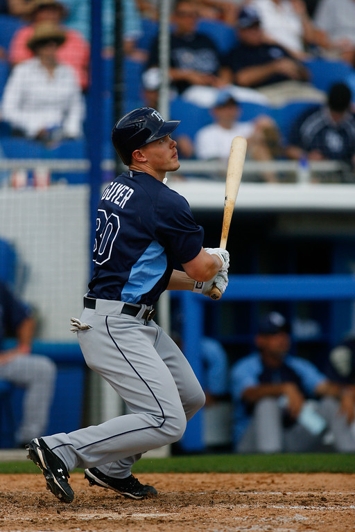 Tampa Bay Rays right fielder Brandon Guyer (30) at bat during a Grapefruit League Spring Training Game at the Florida Auto Exchange Stadium. The Toronto Blue Jays beat the Tampa Bay Rays 5-4.