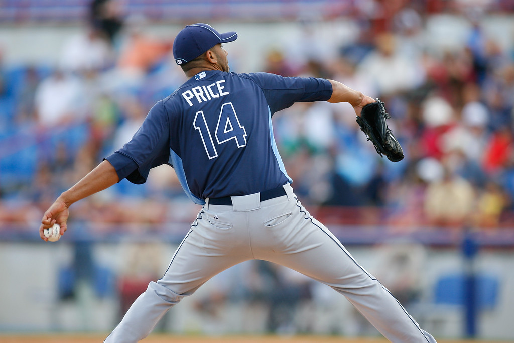 Tampa Bay Rays starting pitcher David Price (14) winds up for a pitch during a Grapefruit League Spring Training Game at the Florida Auto Exchange Stadium.
