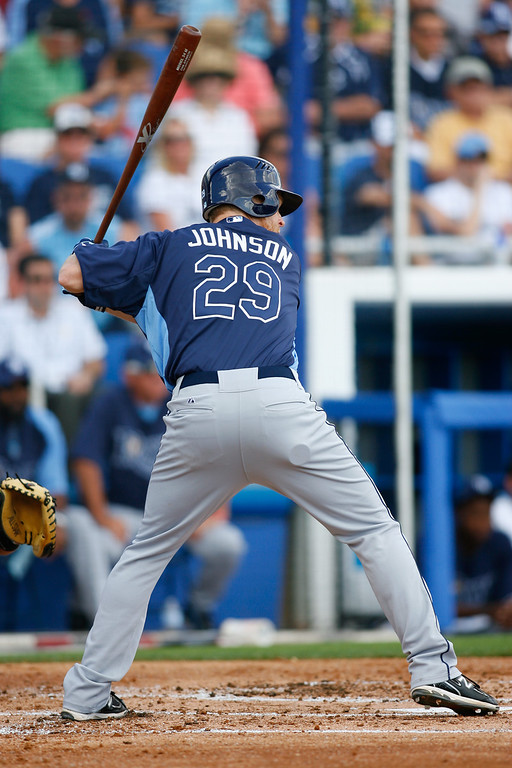 Tampa Bay Rays first baseman Dan Johnson (29) at bat during a Grapefruit League Spring Training Game at the Florida Auto Exchange Stadium.