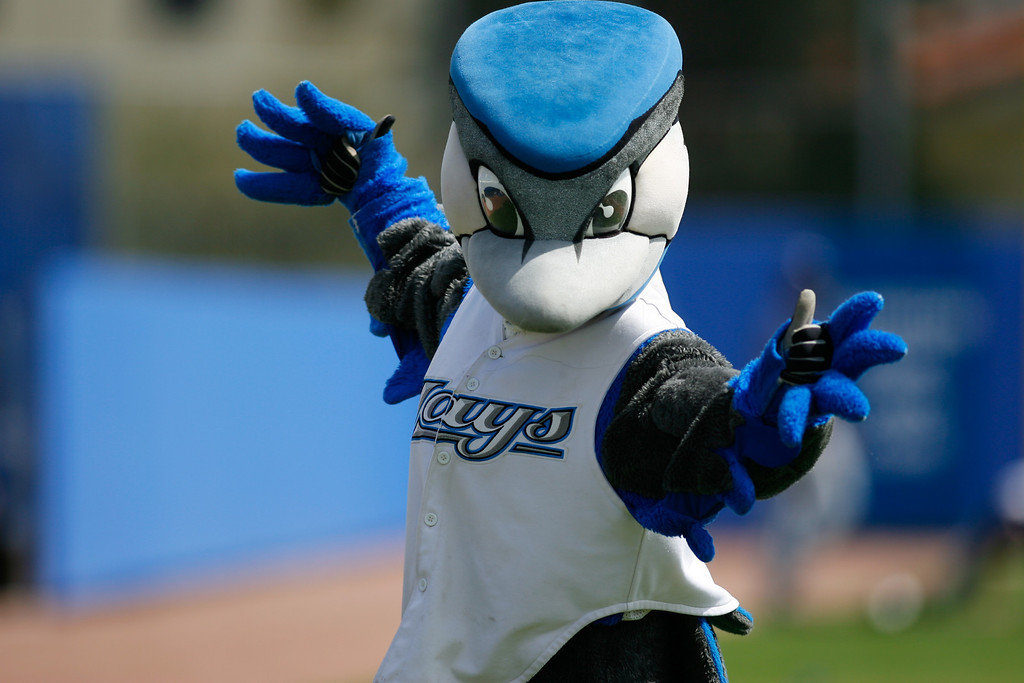 Blue Jays mascot during a Grapefruit League Spring Training Game at the Florida Auto Exchange Stadium.