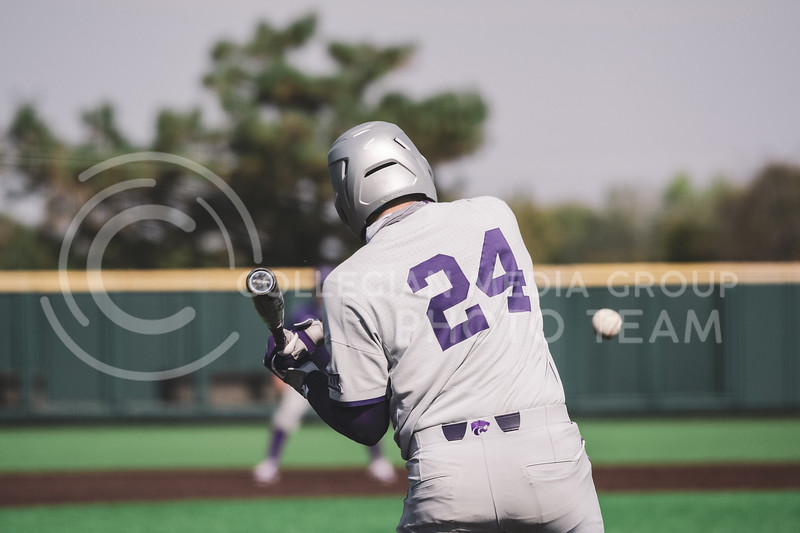 K-State's Dylan Phillips is up to bat during the K-State  Fall World Series, Shave for the Brave. Team Grey took a 6-3 victory over Team Purple. K-State baseball Shave For The Brave scrimmage was located at Tointon Baseball Stadium on Oct 10, 2020. (Dylan Connell | Collegian Media Group)