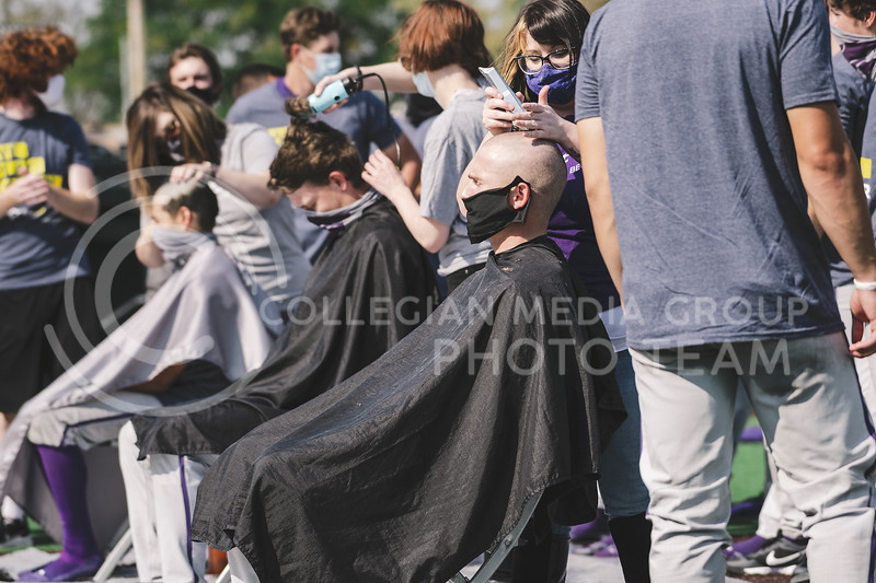 K-State concludes the Fall World Series, Shave for the Brave. Team Grey took a 6-3 victory over Team Purple. K-State baseball Shave For The Brave scrimmage was located at Tointon Baseball Stadium on Oct 10, 2020. Wildcat players, coaches and staff participated in their third-annual Shave for the Brave, in which they cut their hair in support of children's cancer research. (Dylan Connell | Collegian Media Group)