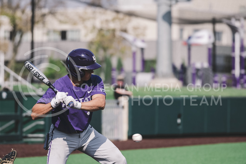 Wildcat's catcher, Dylan Caplinger, up to bat. Team Grey took a 6-3 victory over Team Purple. K-State baseball, Shave For The Brave scrimmage located at Tointon Baseball Stadium on Oct 10, 2020. (Dylan Connell | Collegian Media Group)