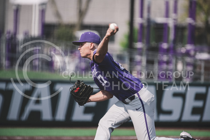 K-State pitcher, Eric Torres, pitches during the Fall World Series, Shave for the Brave. Team Grey took a 6-3 victory over Team Purple. K-State baseball Shave For The Brave scrimmage was located at Tointon Baseball Stadium on Oct 10, 2020. (Dylan Connell | Collegian Media Group)