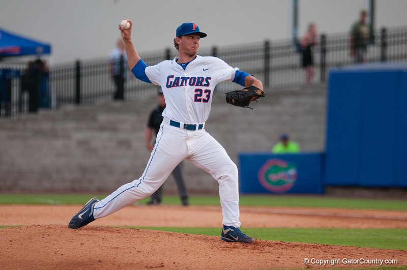 Florida sophomore Jonathon Crawford pitches a no-hitter during the Gators' 4-0 win against the Bethune-Cookman Wildcats Friday June 1, 2012 at the McKethan Stadium in Gainesville, Fla. / Gator Country photo by Saj Guevara