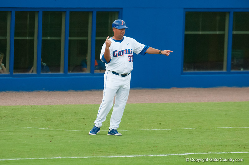 Florida assistant coach Craig Bell during the Gators' 4-0 win against the Bethune-Cookman Wildcats Friday June 1, 2012 at the McKethan Stadium in Gainesville, Fla. / Gator Country photo by Saj Guevara