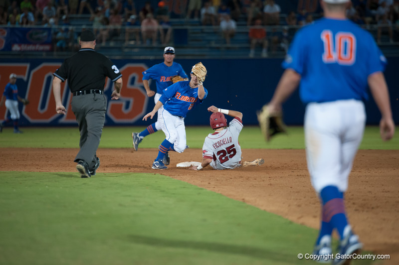 Florida freshman Casey Turgeon catches and throws during the Gators' 1-5 loss against the Arkansas Razorbacks Saturday April 28, 2012 at the McKethan Stadium in Gainesville, Fla. / Gator Country photo by Saj Guevara