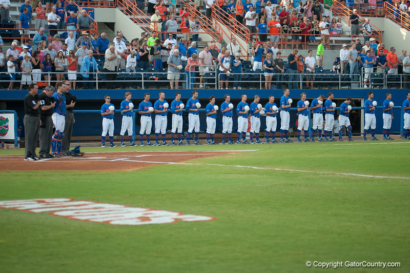 Florida baseball team during the Gators' 1-5 loss against the Arkansas Razorbacks Saturday April 28, 2012 at the McKethan Stadium in Gainesville, Fla. / Gator Country photo by Saj Guevara