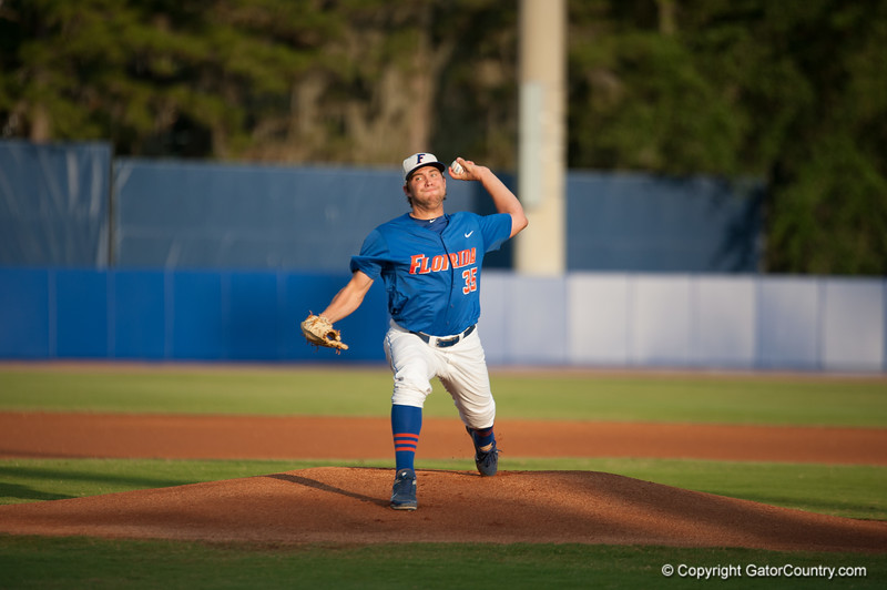 Florida junior Brian Johnson pitches during the Gators' 1-5 loss against the Arkansas Razorbacks Saturday April 28, 2012 at the McKethan Stadium in Gainesville, Fla. / Gator Country photo by Saj Guevara