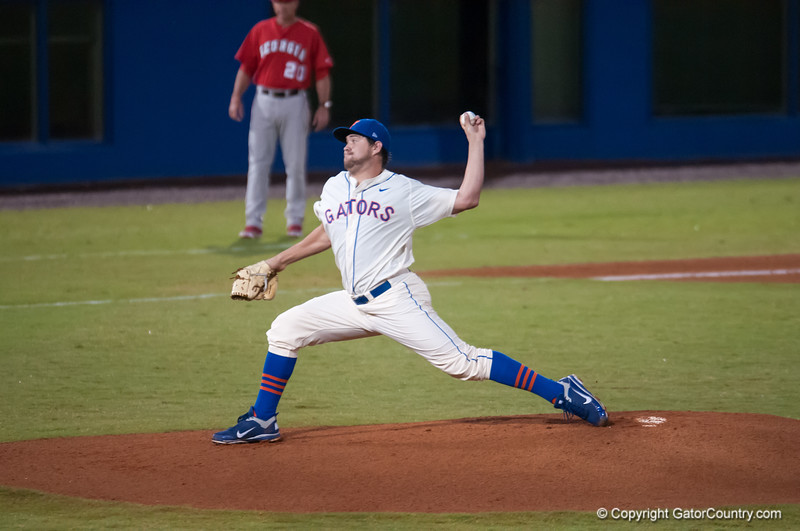 Florida junior Brian Johnson pitches during the Gators' 5-3 loss against the Georgia Bulldogs Saturday April 21, 2012 at the McKethan Stadium in Gainesville, Fla. / Gator Country photo by Saj Guevara