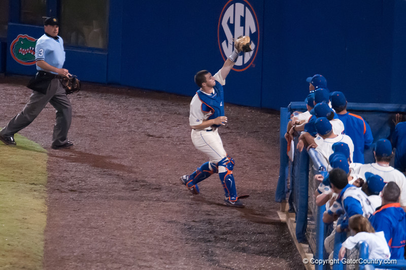 Florida junior Mike Zunino  catches a foul ball during the Gators' 5-3 loss against the Georgia Bulldogs Saturday April 21, 2012 at the McKethan Stadium in Gainesville, Fla. / Gator Country photo by Saj Guevara