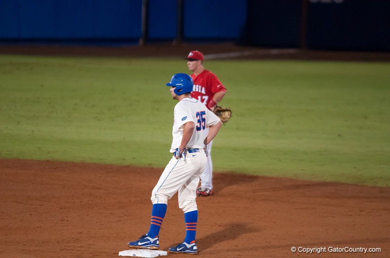Florida junior Brian Johnson on 2nd base during the Gators' 5-3 loss against the Georgia Bulldogs Saturday April 21, 2012 at the McKethan Stadium in Gainesville, Fla. / Gator Country photo by Saj Guevara