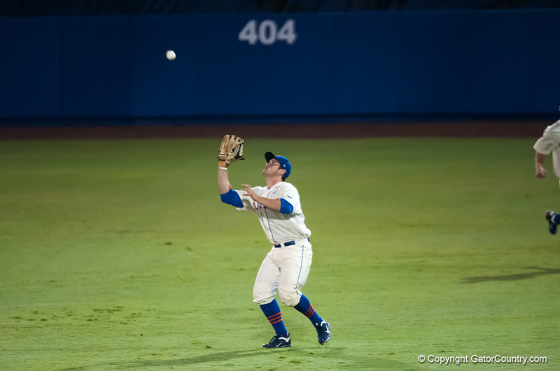 Florida senior Preston Tucker  catches a flyball during the Gators' 5-3 loss against the Georgia Bulldogs Saturday April 21, 2012 at the McKethan Stadium in Gainesville, Fla. / Gator Country photo by Saj Guevara