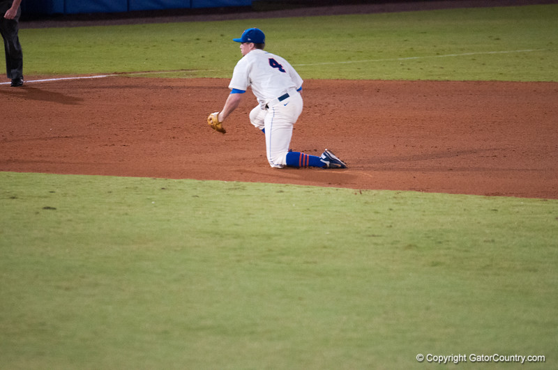 Florida junior Nolan Fontana catches and throws to 1st base during the Gators' 5-3 loss against the Georgia Bulldogs Saturday April 21, 2012 at the McKethan Stadium in Gainesville, Fla. / Gator Country photo by Saj Guevara