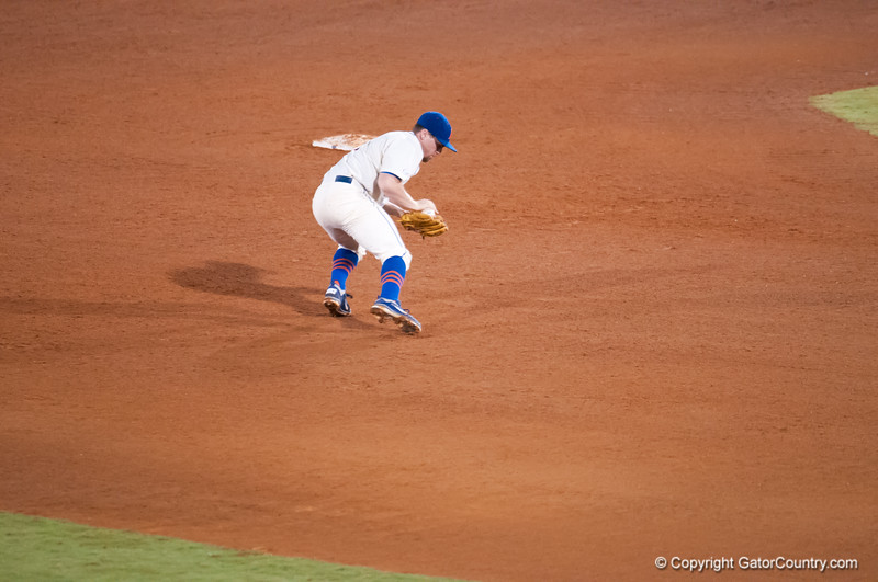 Florida junior Nolan Fontana saves a grounder during the Gators' 5-3 loss against the Georgia Bulldogs Saturday April 21, 2012 at the McKethan Stadium in Gainesville, Fla. / Gator Country photo by Saj Guevara