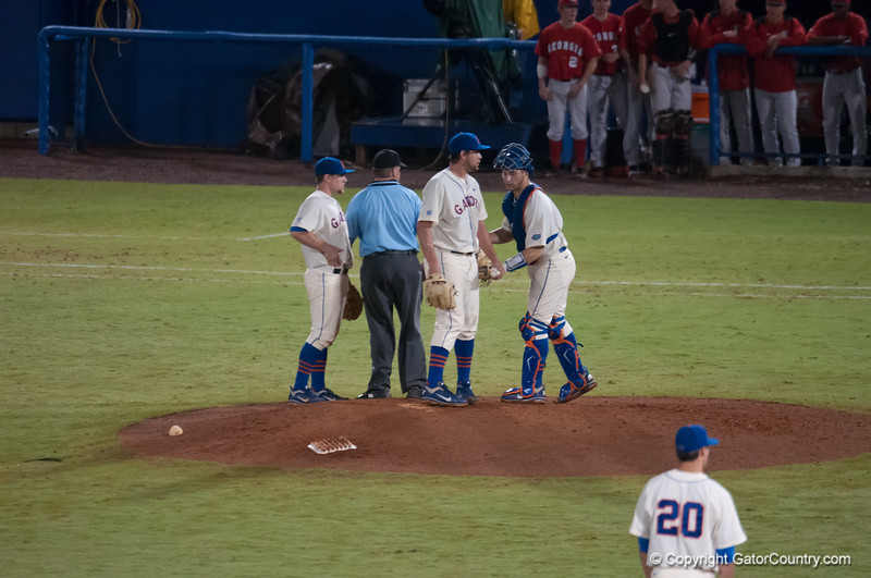 Florida team discussion during the Gators' 5-3 loss against the Georgia Bulldogs Saturday April 21, 2012 at the McKethan Stadium in Gainesville, Fla. / Gator Country photo by Saj Guevara