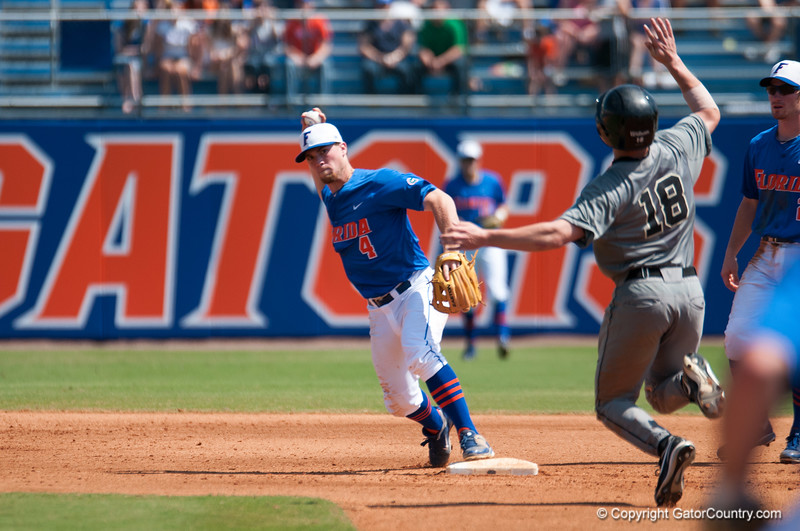 Florida junior Nolan Fontana throws to 1st base for a double play during the Gators' 8-2 win against the Vanderbilt Commodores Sunday, March 18, 2012 at the McKethan Stadium in Gainesville, Fla. / Gator Country photo by Saj Guevara
