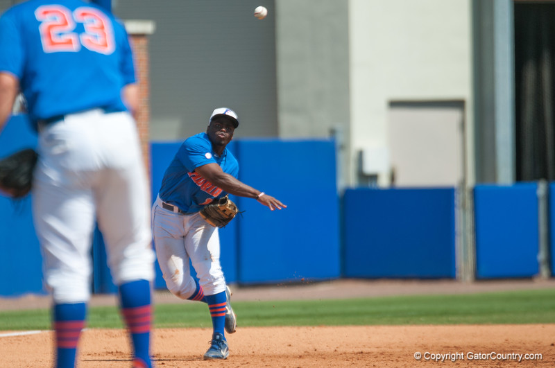 Florida freshman Josh Tobias throws to 1st base during the Gators' 8-2 win against the Vanderbilt Commodores Sunday, March 18, 2012 at the McKethan Stadium in Gainesville, Fla. / Gator Country photo by Saj Guevara