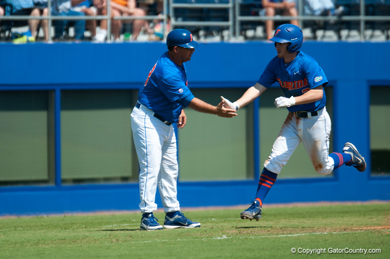 Florida freshman Casey Turgeon hits a home run during the Gators' 8-2 win against the Vanderbilt Commodores Sunday, March 18, 2012 at the McKethan Stadium in Gainesville, Fla. / Gator Country photo by Saj Guevara