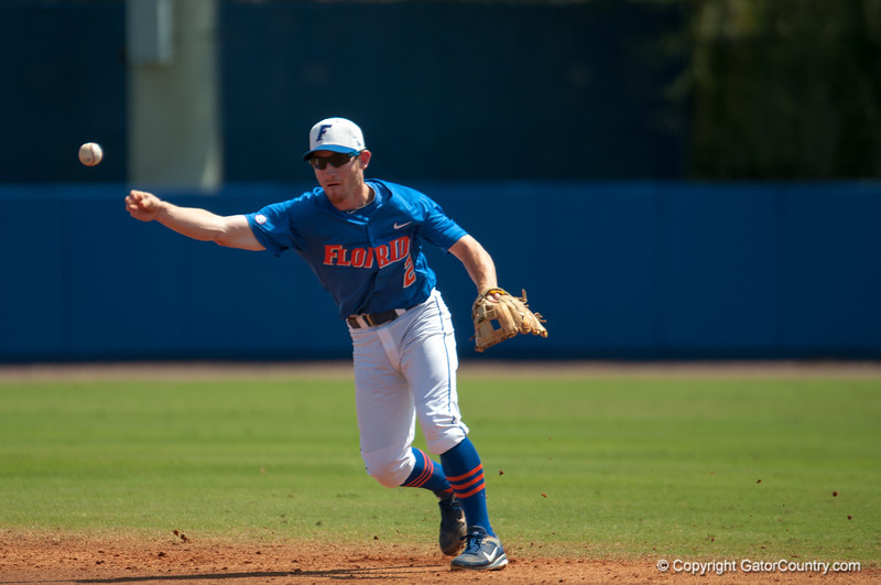 Florida freshman Casey Turgeon throws to first base during the Gators' 8-2 win against the Vanderbilt Commodores Sunday, March 18, 2012 at the McKethan Stadium in Gainesville, Fla. / Gator Country photo by Saj Guevara