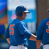 Florida assistant coach Craig Bell talks to Preston Tucker during the Gators' 8-2 win against the Vanderbilt Commodores Sunday, March 18, 2012 at the McKethan Stadium in Gainesville, Fla. / Gator Country photo by Saj Guevara