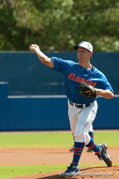 Florida sophomore Jonathon Crawford pitches during the Gators' 8-2 win against the Vanderbilt Commodores Sunday, March 18, 2012 at the McKethan Stadium in Gainesville, Fla. / Gator Country photo by Saj Guevara