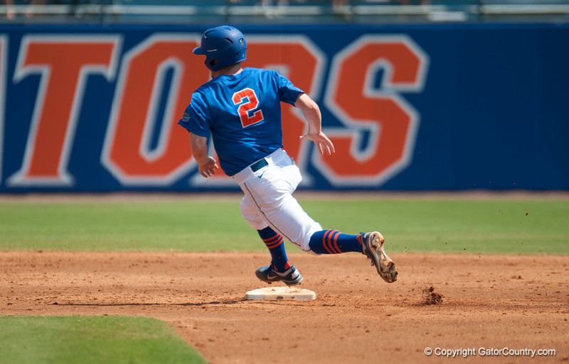 Florida freshman Casey Turgeon touches 2nd base en route to 3rd base during the Gators' 8-2 win against the Vanderbilt Commodores Sunday, March 18, 2012 at the McKethan Stadium in Gainesville, Fla. / Gator Country photo by Saj Guevara