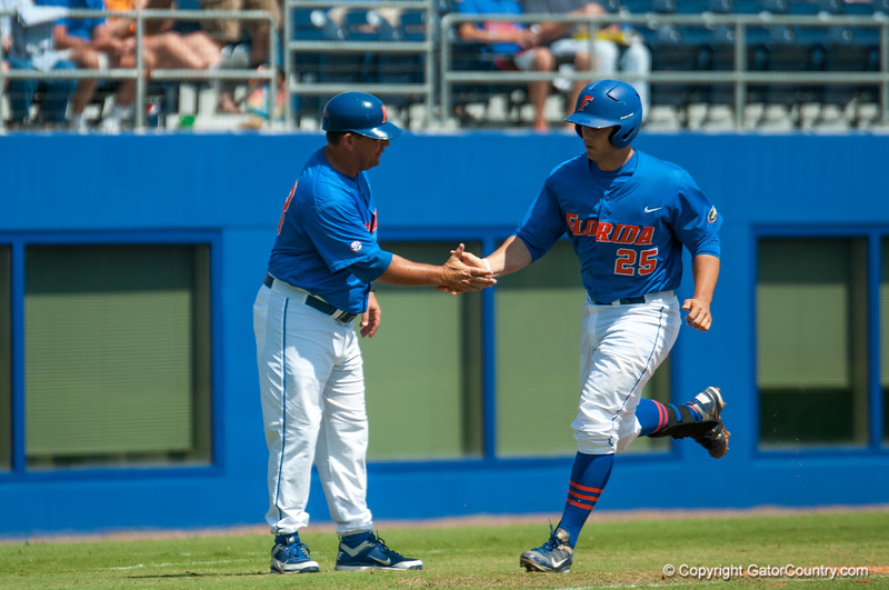 Florida senior Preston Tucker jogs to home plate during the Gators' 8-2 win against the Vanderbilt Commodores Sunday, March 18, 2012 at the McKethan Stadium in Gainesville, Fla. / Gator Country photo by Saj Guevara