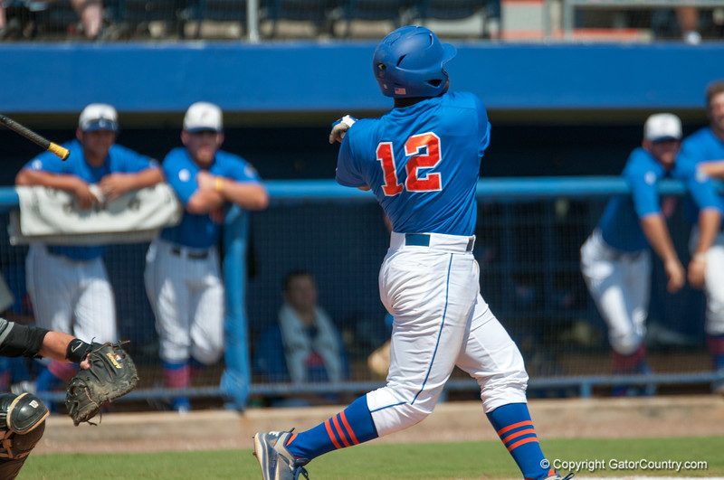 Florida freshman Josh Tobias loses his bat after a swing during the Gators' 8-2 win against the Vanderbilt Commodores Sunday, March 18, 2012 at the McKethan Stadium in Gainesville, Fla. / Gator Country photo by Saj Guevara