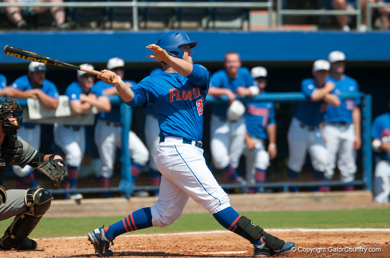 Florida senior Preston Tucker hits a home run  during the Gators' 8-2 win against the Vanderbilt Commodores Sunday, March 18, 2012 at the McKethan Stadium in Gainesville, Fla. / Gator Country photo by Saj Guevara