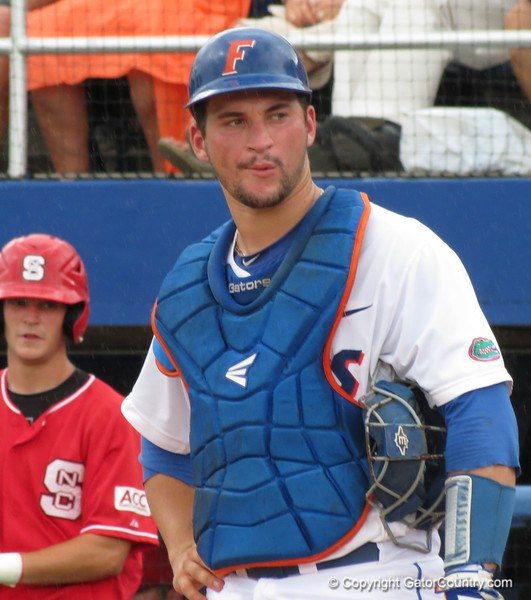 Florida catcher Mike Zunino during the Gators' game against North Carolina State in Game 1 of the Gainesville Super Regional in McKethan Stadium on June 9, 2012.